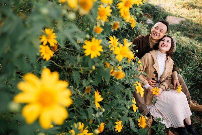 Sắc hoa vàng rực khiến du khách say mê