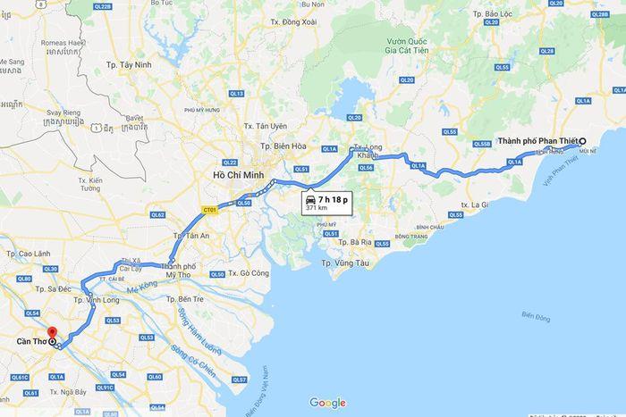 Từ Phan Thiết đi Cầ Thơ khoảng hơn 370 km