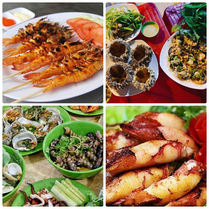 Các món ăn đa dạng tại quán hải sản Gió Biển